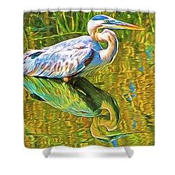 Everglades Blue Heron Shower Curtain by Dennis Cox