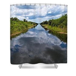 Everglades Canal Shower Curtain by Christopher L Thomley