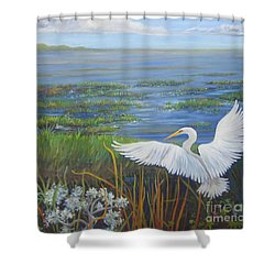 Everglades Egret Shower Curtain by Anne Marie Brown