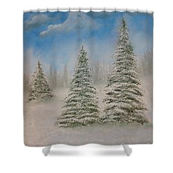 Evergreens In Snow  Shower Curtain
