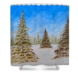 Evergreens In Snowy Field Enhanced Colors Shower Curtain