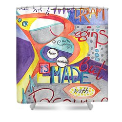 Shower Curtain featuring the painting Every Dream Begins by Erin Fickert-Rowland
