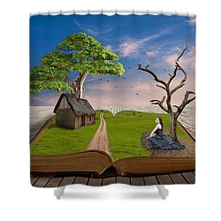 Shower Curtain featuring the mixed media Every Picture  Tells A Story by Marvin Blaine