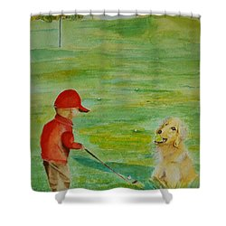 Everything Waits While I Golf Art Shower Curtain by Geeta Biswas