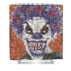 Shower Curtain featuring the mixed media Evil Clown Mosaic by Paul Van Scott