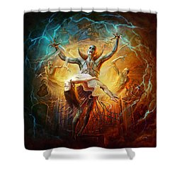 Shower Curtain featuring the digital art Evil God by Uwe Jarling