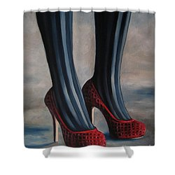 Shower Curtain featuring the painting Evil Shoes by Jindra Noewi