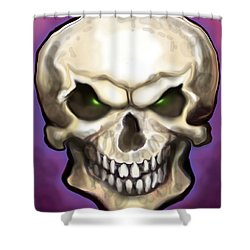 Shower Curtain featuring the painting Evil Skull by Kevin Middleton