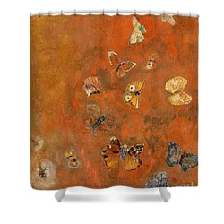 Evocation Of Butterflies Shower Curtain by Odilon Redon