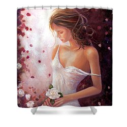 Evocative Scent Of A Summer Rose Shower Curtain by Michael Rock