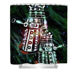 Shower Curtain featuring the digital art Ex-ter-min-ate by Pennie  McCracken