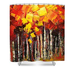 Shower Curtain featuring the painting Exaltant by Tatiana Iliina