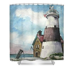 Shower Curtain featuring the painting Execution Rocks Lighthouse by Susan Herbst