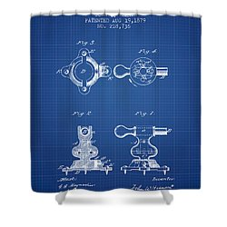 Exercise Machine Patent From 1879 - Blueprint Shower Curtain