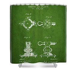 Exercise Machine Patent From 1879 - Green Shower Curtain