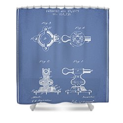 Exercise Machine Patent From 1879 - Light Blue Shower Curtain