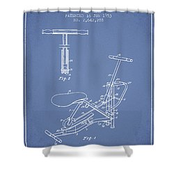 Exercise Machine Patent From 1953 - Light Blue Shower Curtain