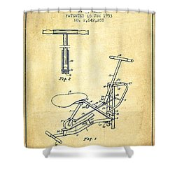 Exercise Machine Patent From 1953 - Vintage Shower Curtain