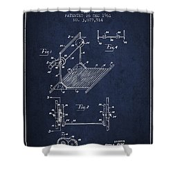 Exercise Machine Patent From 1961 - Navy Blue Shower Curtain