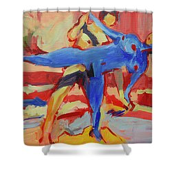 Exercising On The Beach Shower Curtain