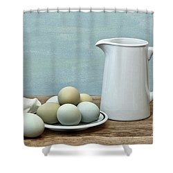 Exotic Colored Eggs With Pitcher Shower Curtain by Pattie Calfy