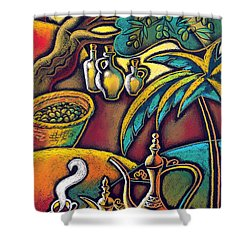 Shower Curtain featuring the painting Exotic East, Coffee And Olive Oil by Leon Zernitsky
