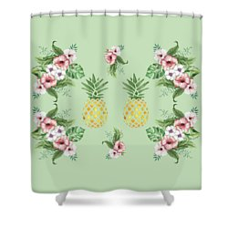 Shower Curtain featuring the painting Exotic Hawaiian Flowers And Pineapple by Georgeta Blanaru