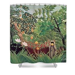 Exotic Landscape Shower Curtain by Henri Rousseau
