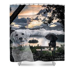 Shower Curtain featuring the digital art Expect Miracles by Kathy Tarochione