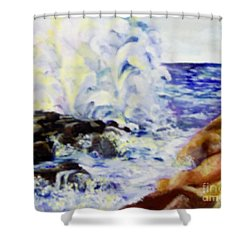 Shower Curtain featuring the painting Explode by Saundra Johnson