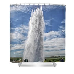 Exploding Geyser In Iceland Shower Curtain