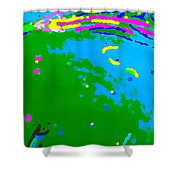 Shower Curtain featuring the painting Exploration by Yshua The Painter