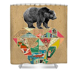 Explore Bear  Shower Curtain by Claudia Schoen