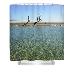Exploring A Tidal Beach Lagoon Shower Curtain