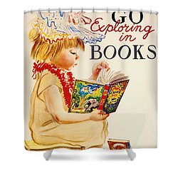 Shower Curtain featuring the photograph Exploring Books 1961 by Padre Art