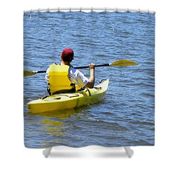 Shower Curtain featuring the photograph Exploring In A Kayak by Sandi OReilly