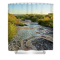 Shower Curtain featuring the photograph Exposed Sandstone In North Head by Miroslava Jurcik