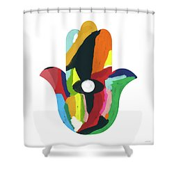 Shower Curtain featuring the mixed media Expressionist Hamsa- Art By Linda Woods by Linda Woods