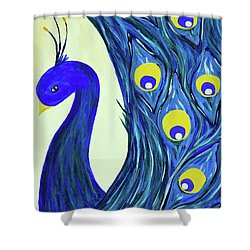 Shower Curtain featuring the painting Expressive Brilliant Peacock B71117 by Mas Art Studio