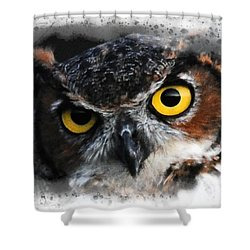 Shower Curtain featuring the digital art Expressive Owl Digital A2122216 by Mas Art Studio
