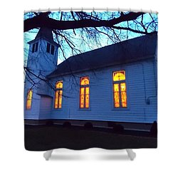 Exterior Church Evening Shower Curtain