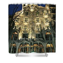Exterior View Of An Antoni Gaudi Shower Curtain by Richard Nowitz