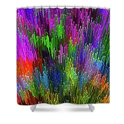Shower Curtain featuring the digital art Extruded City Of Color By Kaye Menner by Kaye Menner