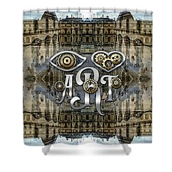 Eye Heart Art Louvre Silver Paris Da Vinci Gears Shower Curtain