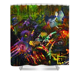 Shower Curtain featuring the painting Eye In Chaos by Claire Bull