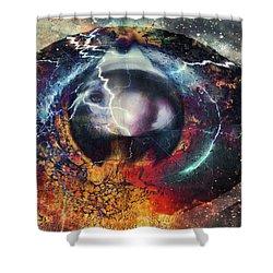 Shower Curtain featuring the digital art Eye Of The Storm by Linda Sannuti