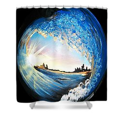 Shower Curtain featuring the painting Eye Of The Wave by Sharon Duguay