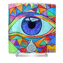 Eye With Silver Tear Shower Curtain