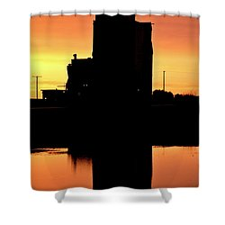 Eyebrow Gain Elevator Reflected Off Water After Sunset Shower Curtain by Mark Duffy
