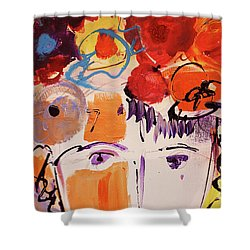 Eyes And Flowers Shower Curtain by Amara Dacer
